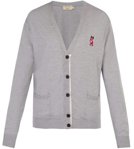 MAISON KITSUNÉ Acide Fox Applique Cardigan - Mens - Grey