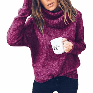 Tomwell Women Turtle Neck Long Sleeve Chunky Knit Ribbed Sweater Jumper Knitwear Top Purple UK 8