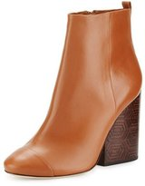 Tory Burch Grove Leather 100mm Block-Heel Bootie, Royal Tan