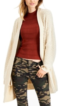 Say What Juniors' Textured Open-Front Cardigan