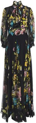 Dolce & Gabbana Pussy-bow Floral-print Silk-chiffon Gown