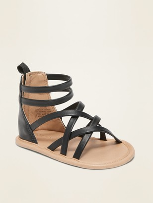 Old Navy Faux-Leather Cross-Strap Gladiator Sandals for Baby