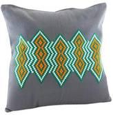 Embroidered Cotton Cushion Cover, 'Emerald Diamonds'