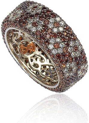 Suzy Levian Sterling Silver Brown & White Cubic Zirconia Floral Eternity Band
