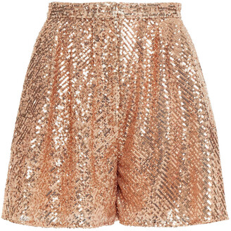 Maje Paillette Pleated Sequined Tulle Shorts