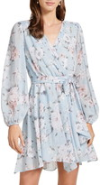 Ever New Floral Print Long Sleeve Faux Wrap Dress
