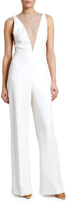 Stella McCartney Deep-V Crystal Mesh-Panel Jumpsuit