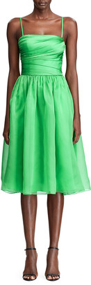Ralph Lauren Annora Gathered Silk-Taffeta Midi Dress