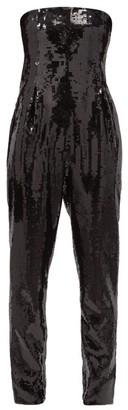 Saint Laurent Strapless Sequinned Bustier Jumpsuit - Black