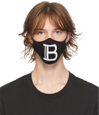 Balmain Black Knit Logo Mask