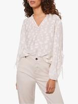 Mint Velvet Jacquard Tie Sleeve Blouse, Ivory