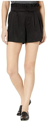 Cupcakes And Cashmere Leah High-Waisted Lyocell Paper Bag Shorts (Black) Women's Shorts