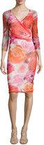 Fuzzi 3/4-Sleeve Floral-Print Faux-Wrap Dress