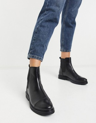 Dune flat chelsea boots in black leather