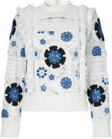 Sea crochet floral design pullover
