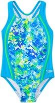 Speedo Girls' Tie Dye Splash Sport Splice One Piece Swimsuit (4yrs6X) - 8137118