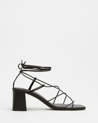 AERE - Women's Black Ballet Flats - Strappy Ankle Tie Leather Heels - Size 5 at The Iconic