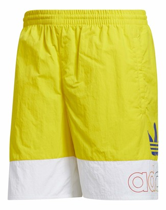 adidas mens Pride Freestyle Woven Shorts Yellow/White XX-Large