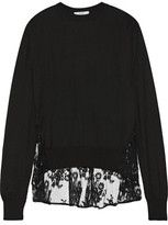 Erdem Tita Lace-Paneled Knitted Sweater