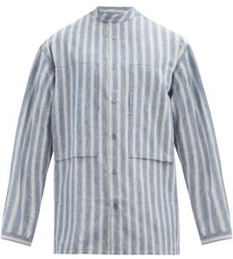 E. Tautz Stand-collar Striped Cotton-chambray Shirt - Blue White