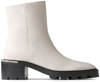 Jimmy Choo MELODIE 35 Latte Grained Leather Block Heel Boots with Mirrored Trim