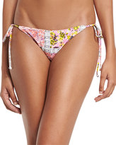 MinkPink Mink Pink Floral-Print Side-Tie Bikini Swim Bottom, White/Pink Multi
