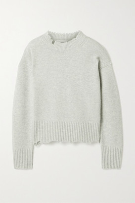 Helmut Lang Distressed Melange Wool And Cashmere-blend Sweater - Stone