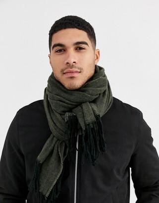 Asos Design DESIGN woven blanket scarf in khaki texture-Green