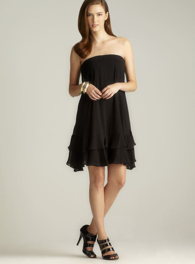 Isaac Mizrahi Strapless Chiffon Ruffle Tiered Dress