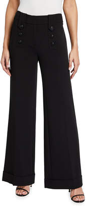 Karl Lagerfeld Paris Military Button Wide Leg Cuff Pants
