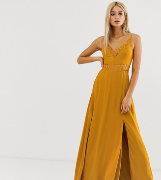 Asos Tall DESIGN Tall maxi dress with guipure lace waist trim-Yellow