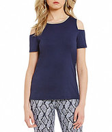 MICHAEL Michael Kors Metallic Crew Neck Cold-Shoulder Knit Jersey Tee