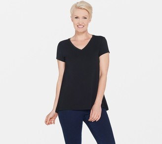 Halston H by Essentials V-Neck Top with Forward Notch Detail
