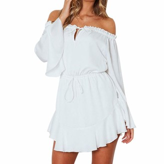 ReooLy Fashion Women Solid Flare Sleeve Slash-Neck Off Shoulder Club Party Mini Dress (White Large)
