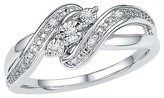 Diamond Accent Prong/Miracle Set Three Stone Fashion Ring in Sterling Silver (IJ-I2-I3)