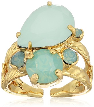 Sorrelli Tilted Teardrop Cluster Double Band Ring