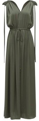 Carl Kapp - Voyager Drawstring-tie Satin Dress - Dark Green