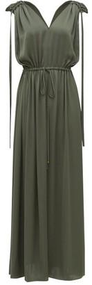 Carl Kapp - Voyager Drawstring-tie Satin Dress - Womens - Dark Green