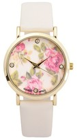 Journee Collection Women's Floral Round Face Simulated Leather Strap Watch