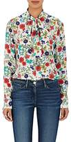 Barneys New York Women's Floral Crepe Tieneck Blouse