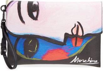 Moschino Face Print Leather Clutch