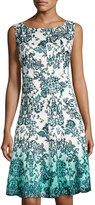 Chetta B Magic-Waist Printed Dress, White/Blue