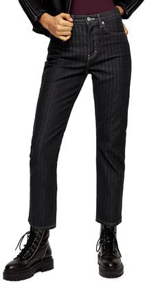 Topshop Stripe Straight Leg Crop Jeans