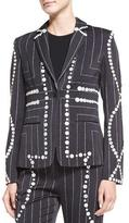 Edun Square Pinstripe Button-Trimmed Blazer