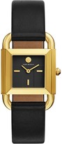 Tory Burch PHIPPS WATCH, BLACK LEATHER/GOLD-TONE, 29 X 41 MM