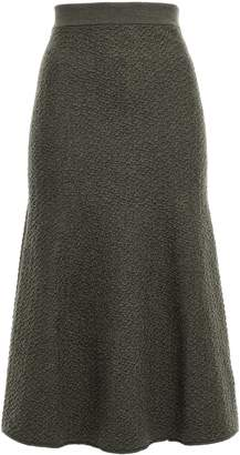 Victoria Beckham Fluted Wool Midi Skirt
