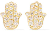 Jennifer Meyer Mini Hamsa 18-karat Gold And Diamond Earrings - one size