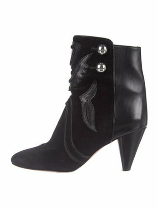 Isabel Marant Suede Studded Accents Lace-Up Boots Black