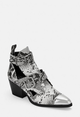 Missguided White Snake Print Patent Metal Cap Cut Out Western Ankle Boots
