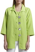 Caroline Rose Shantung Big-Button Shirt, Lime, Plus Size
